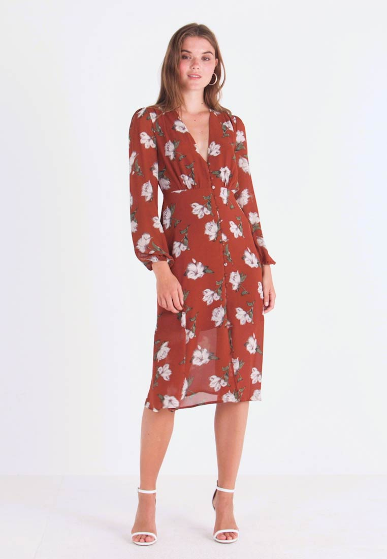 Missguided - FLORAL BUTTON DOWN MIDI DRESS - Shirt dress - brown