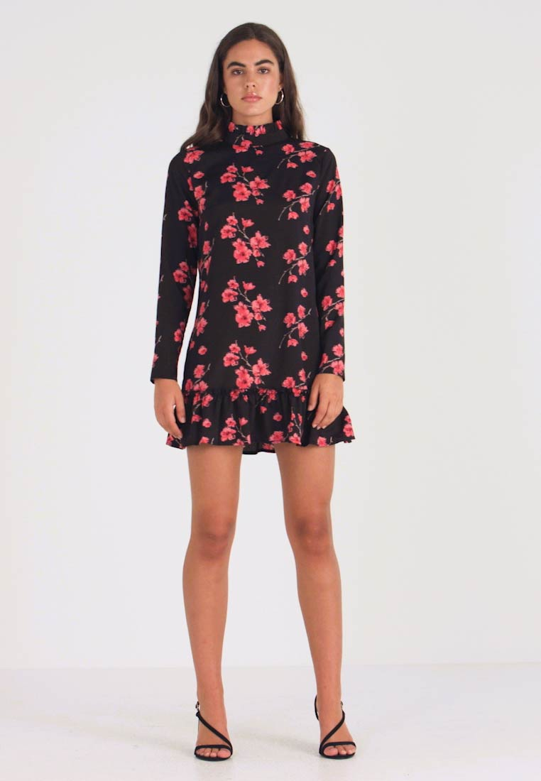 Missguided - HIGH NECK FRILL HEM DRESS FLORAL - Vestido informal - black