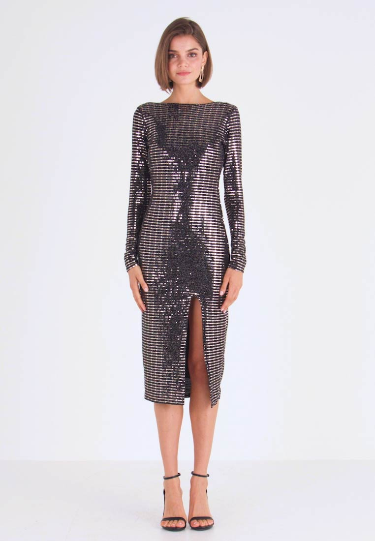 Missguided - SEQUIN OPEN BACK BODYCON MIDI DRESS - Cocktailjurk - black