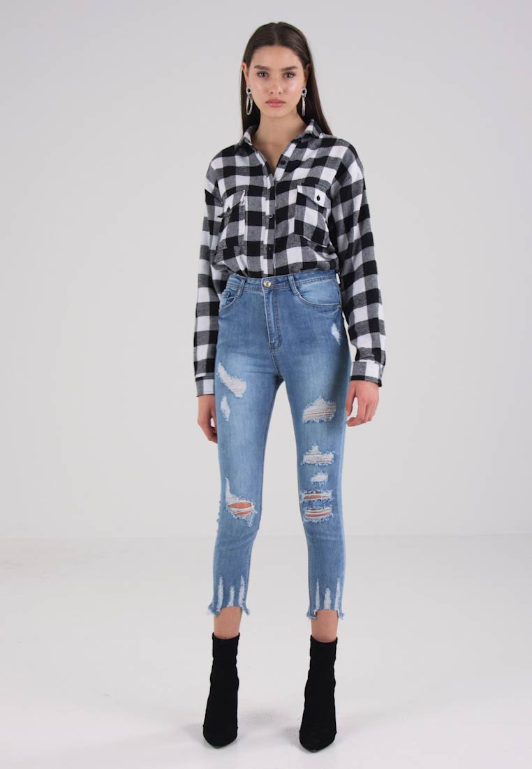 Missguided SINNER HIGH WAISTED AUTHENTIC RIPPED - Jeans Skinny Fit - blue