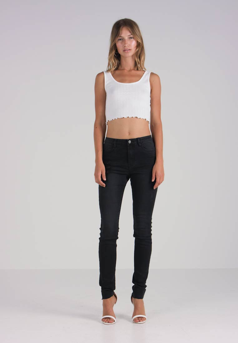 Clean Sinner Distress High Black Skinny Jeans Missguided Fit Waisted xwC7BpnH
