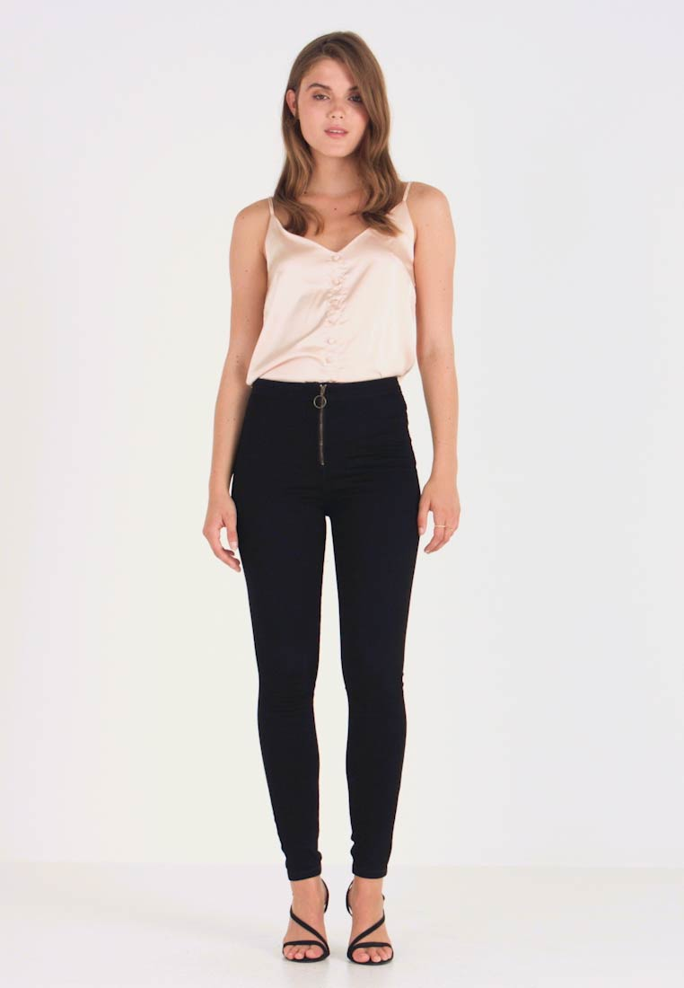 Missguided - RING ZIP OUTLAW - Džegíny - black