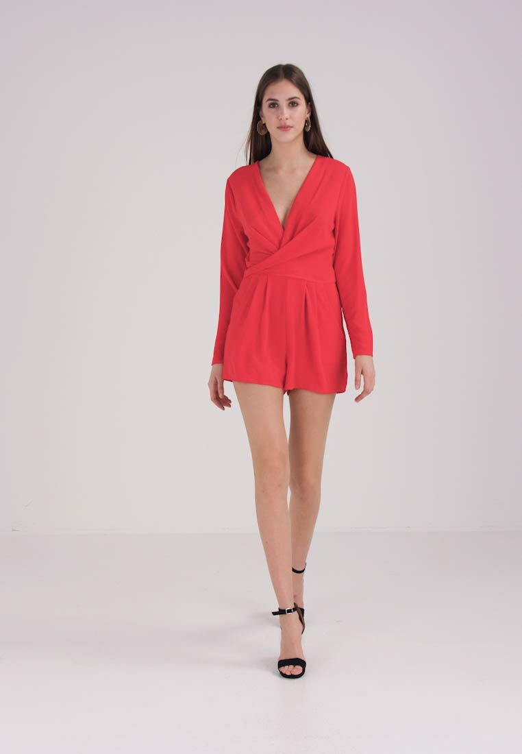 uk store big discount favorable price WRAP FRONT DETAIL PLAYSUIT - Jumpsuit - red