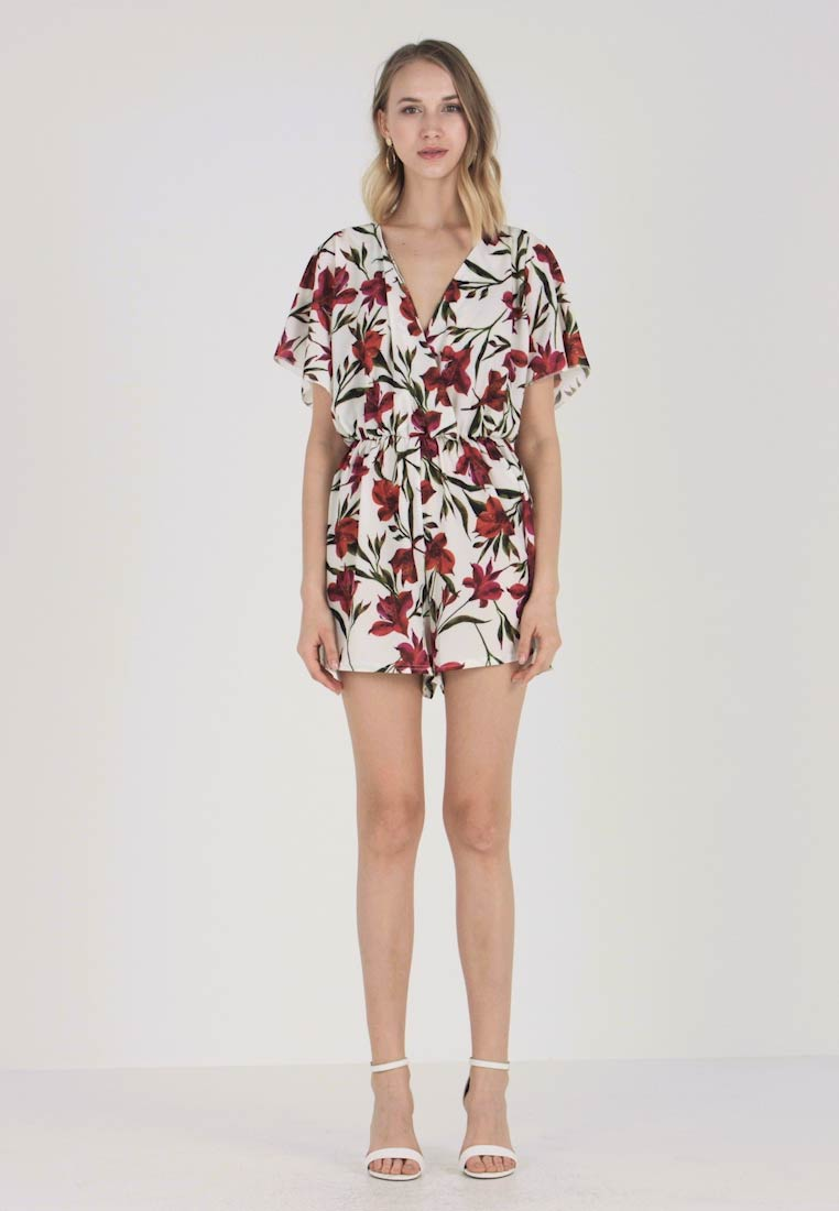 Kimono Wrap White Missguided Over Sleeve Jumpsuit Playsuit Floral vBaHqa