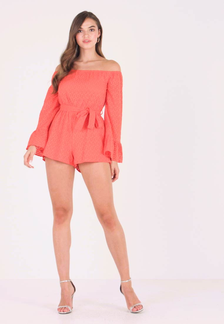 Missguided - BRODERIE FLARED SLEEVE - Jumpsuit - orange