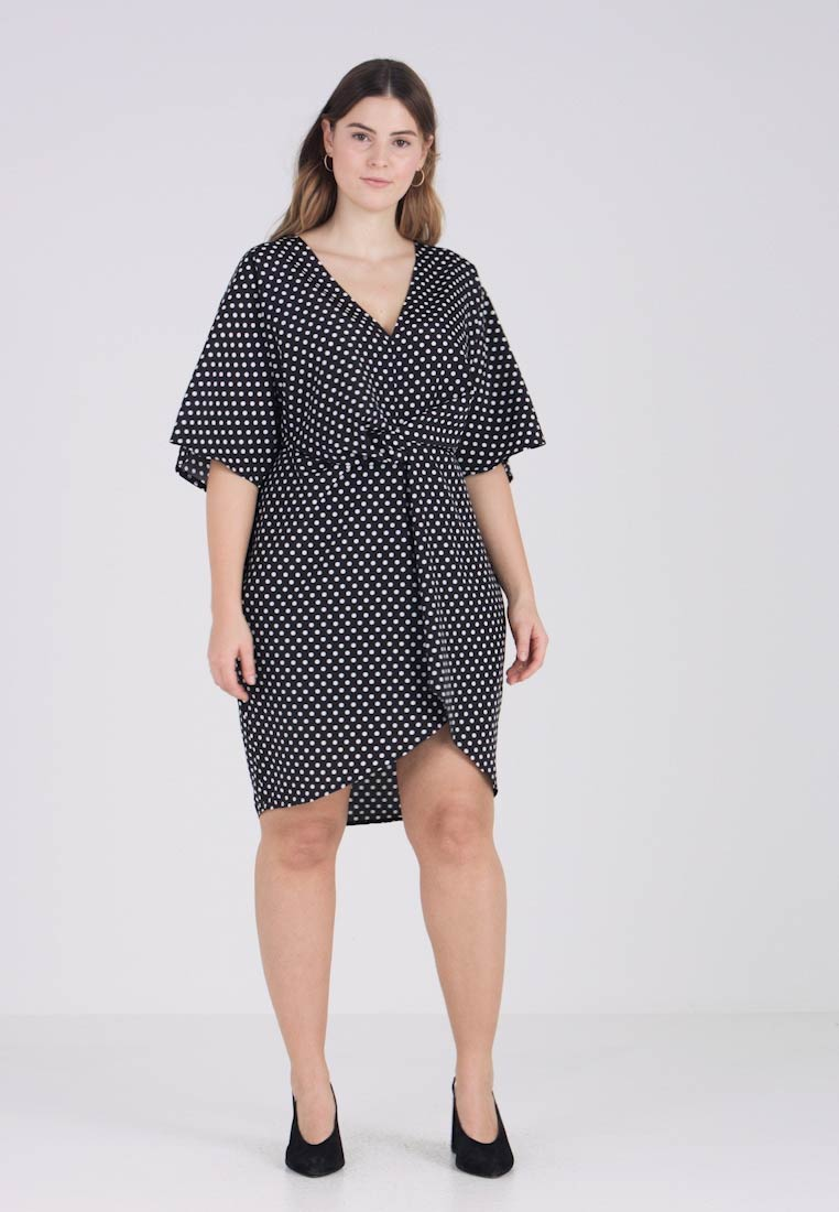 Missguided Plus - EXCLUSIVE POLKA DOT DRESS - Hverdagskjoler - black
