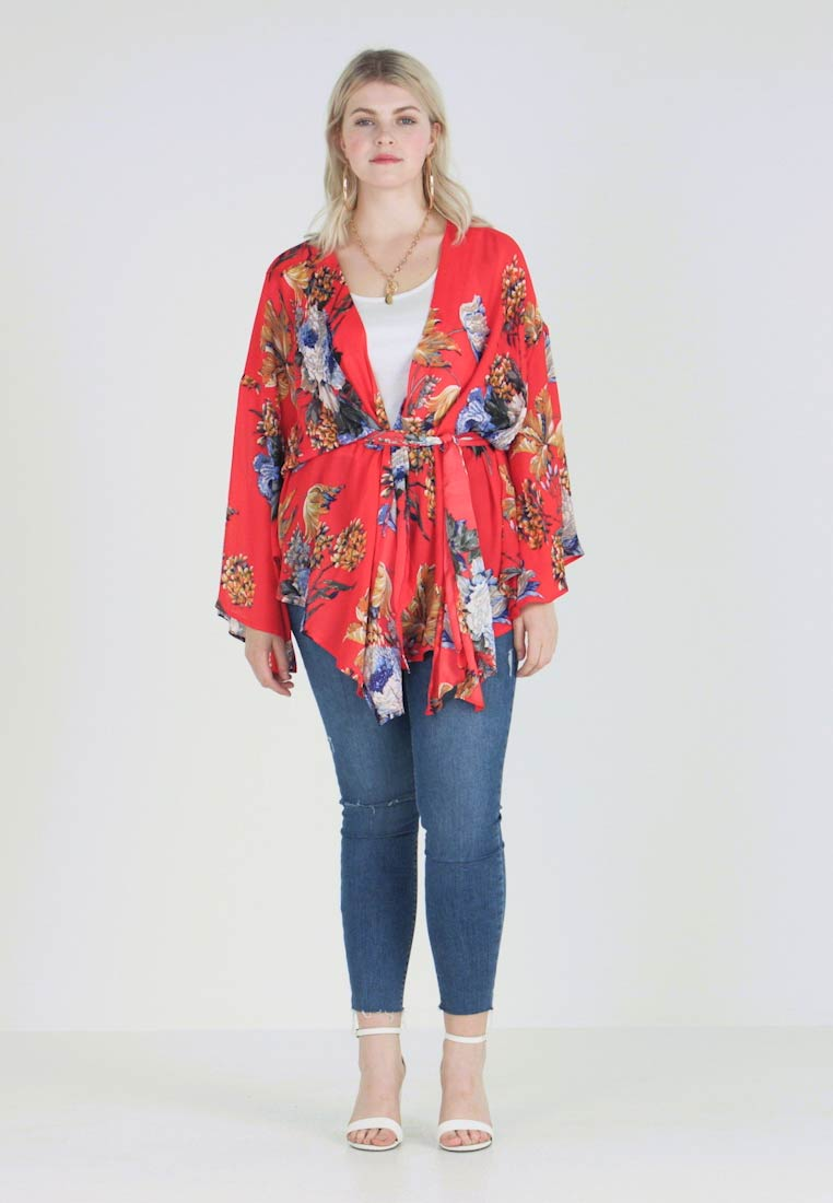 Missguided Plus - CURVE FLORAL TIE WAIST KIMONO - Chaqueta fina - red