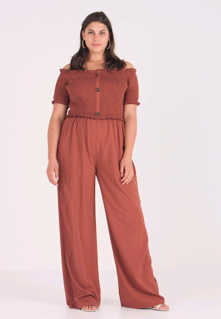 fcb650ef9c09 Missguided Plus SHIRRED HORN BUTTON BARDOT - Jumpsuit - brown ...