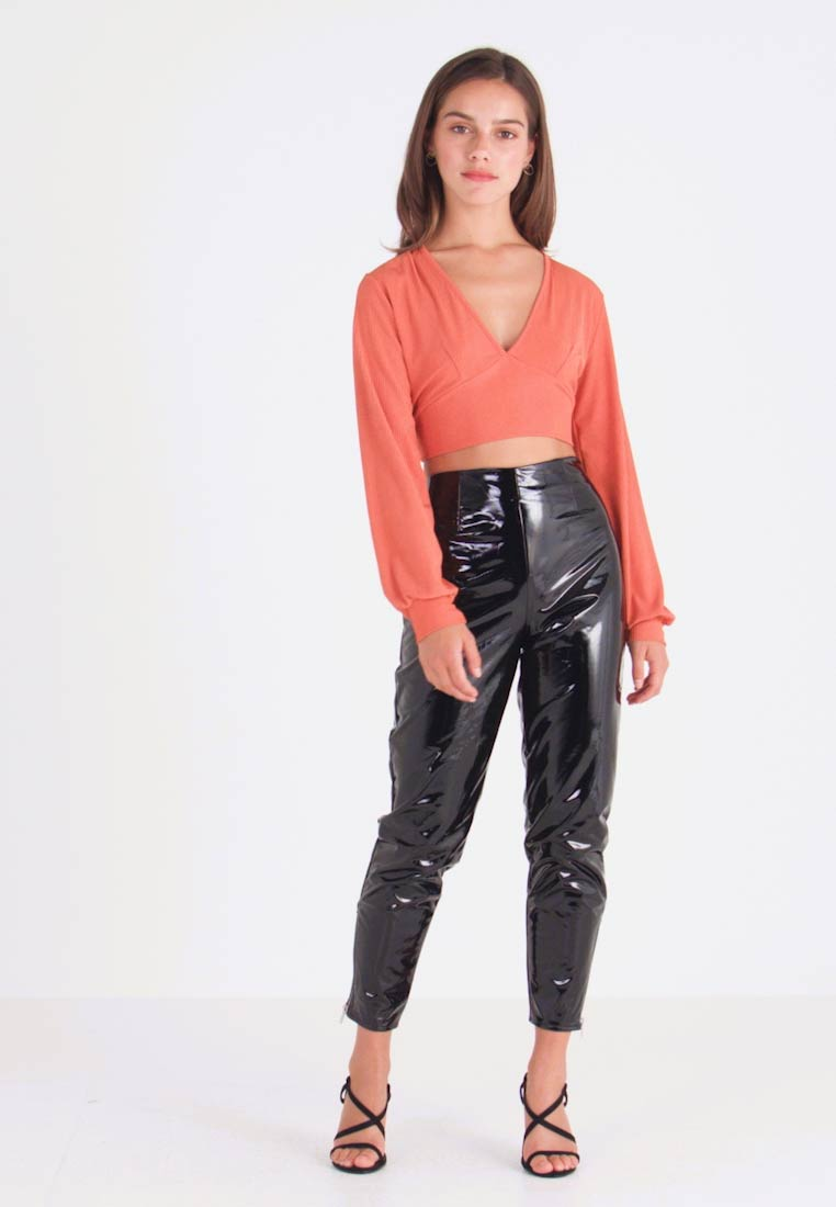 Missguided Petite - ZIP DETAIL TROUSERS - Trousers - black