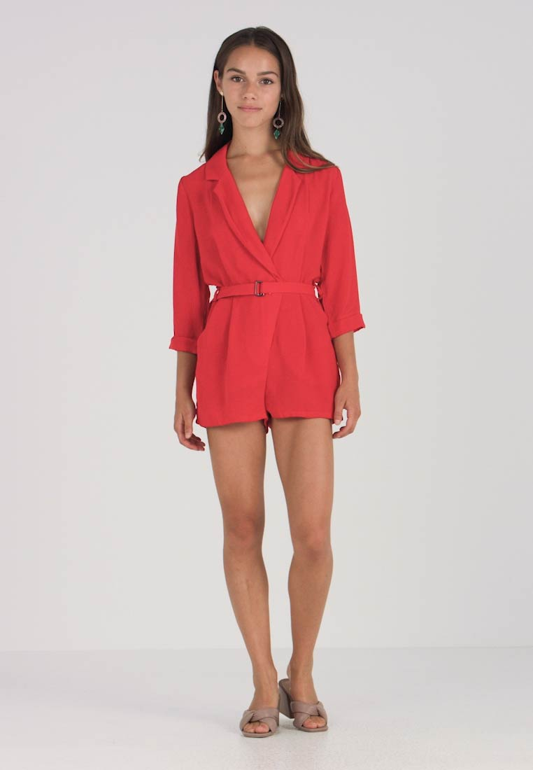 0318708c8d Missguided Petite WRAP PLAYSUIT - Jumpsuit - red - Zalando.co.uk