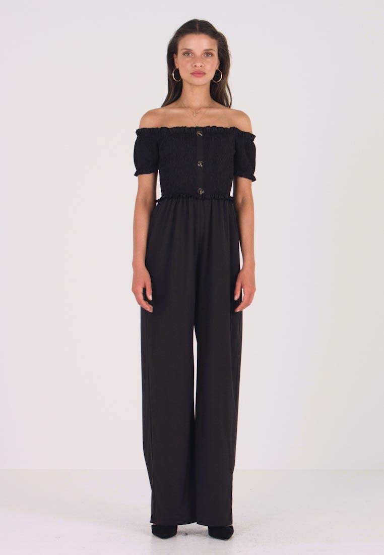 Missguided Petite - SHIRRED HORN BUTTON BARDOT - Overall / Jumpsuit /Buksedragter - black