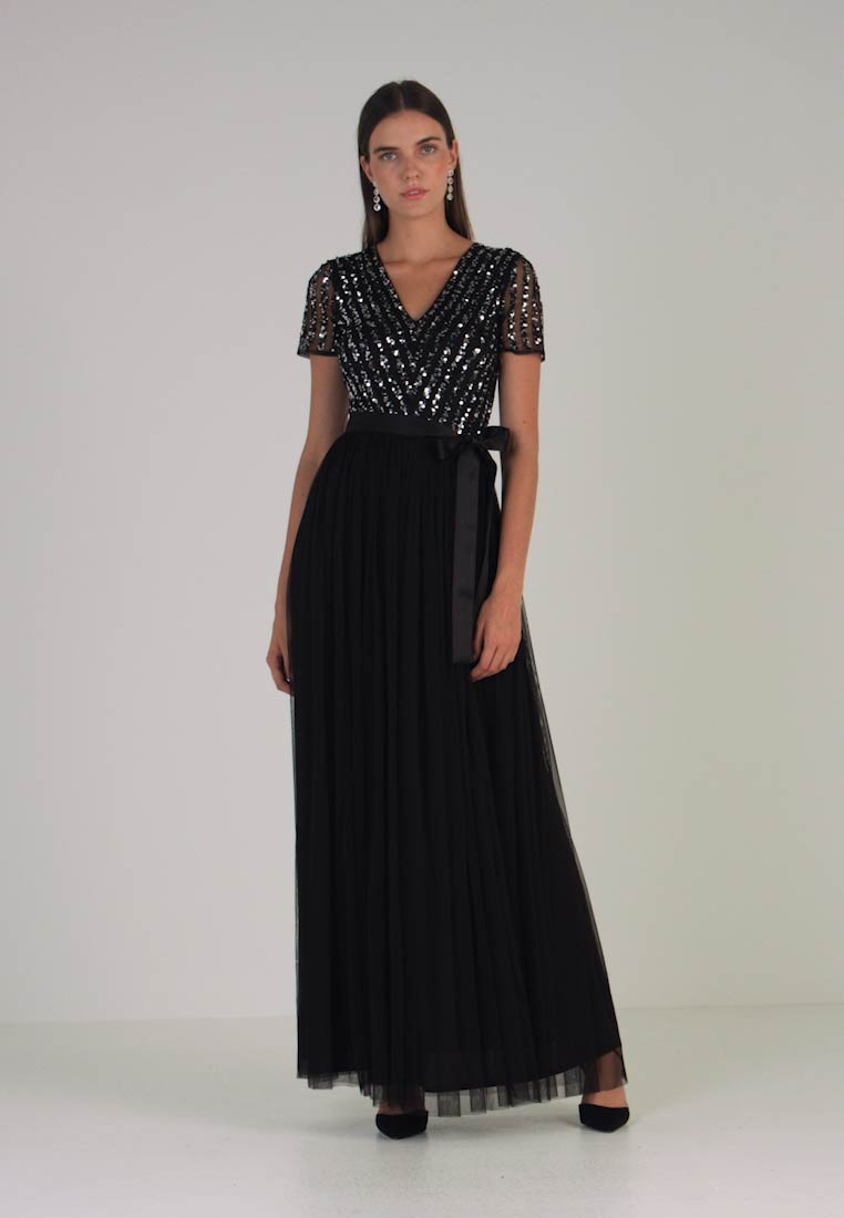 Maya Deluxe - GEOMETRIC EMBELLISHED SEQUIN BODICE MAXI DRESS - Occasion wear - black