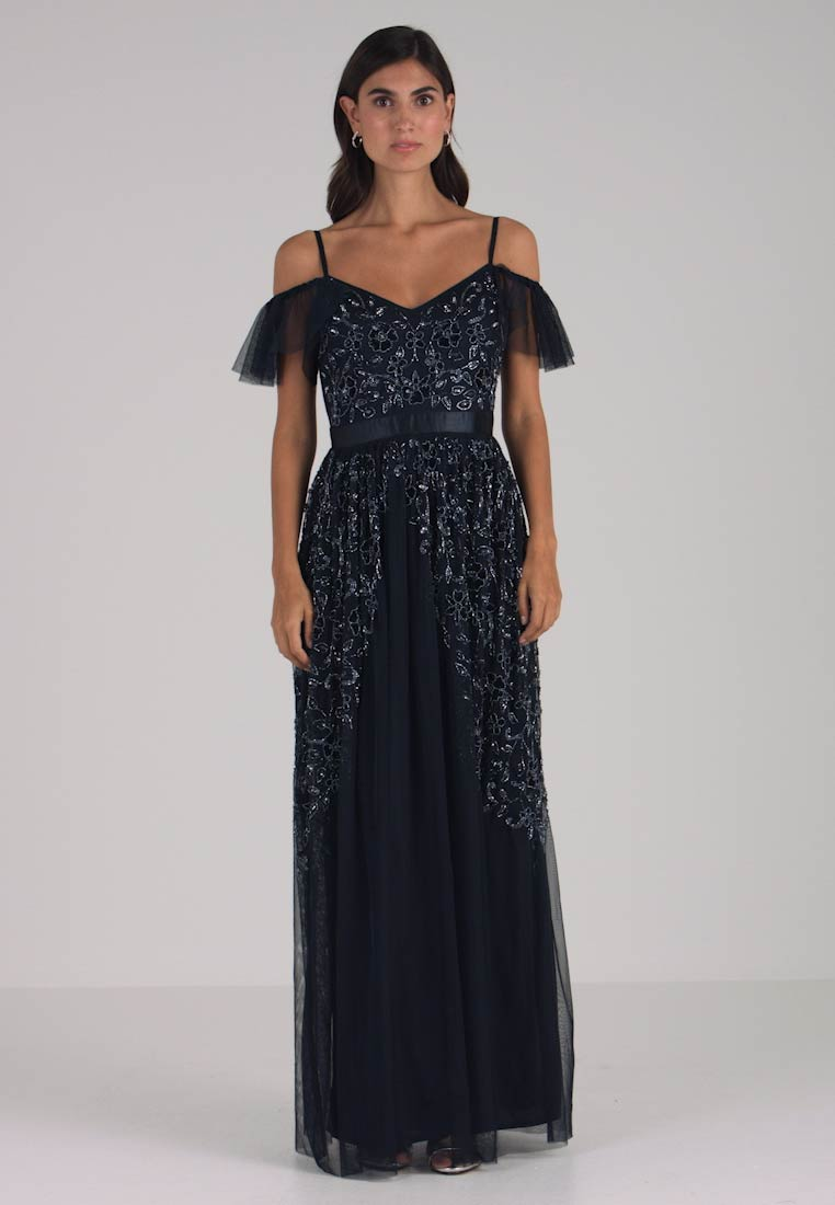 Maya Deluxe - COLD SHOULDER EMBELLISHED MAXI DRESS - Vestido de fiesta - navy