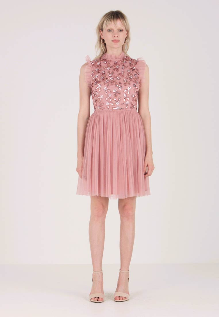 Maya Deluxe - HIGH NECK RUFFLE DETAIL EMBELLISHED MINI DRESS - Cocktail dress / Party dress - pink