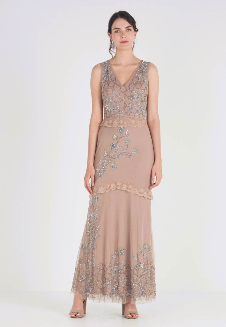Maya Deluxe - V NECK MAXI DRESS WITH PLACEMENT EMBELLISHMENT AND DETAILING - Ballkleid - taupe blush