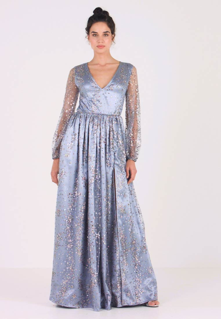 Maya Deluxe - STAR GLITTER MAXI DRESS WITH BISHOP SLEEVES AND OPEN BACK - Ballkleid - blue/multi
