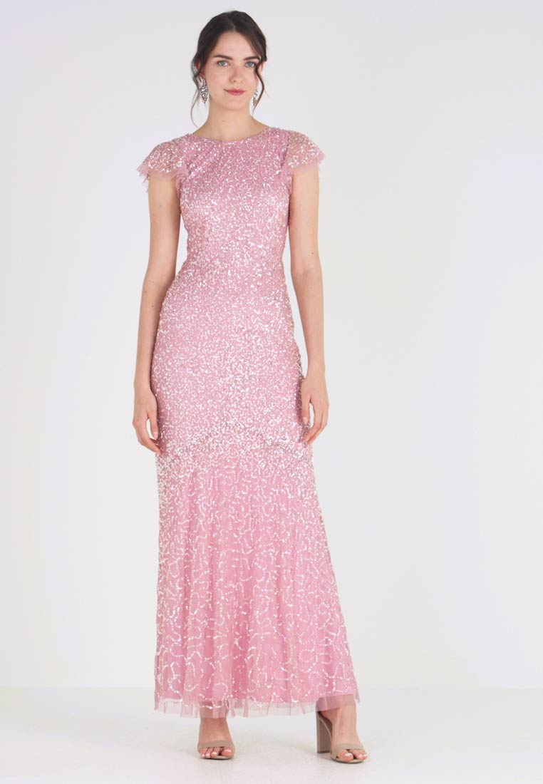 Maya Deluxe - ALL OVER EMBELLISHED MAXI DRESS WITH FLUTTER SLEEVE - Occasion wear - pink