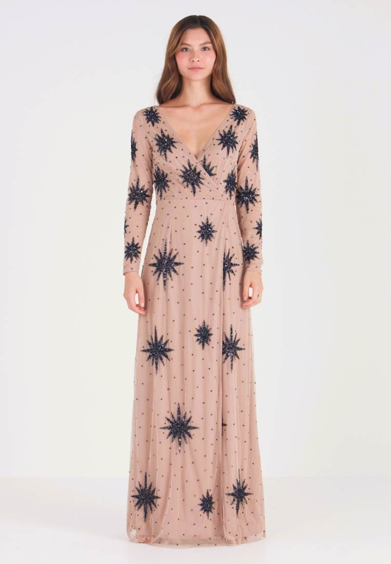 Maya Deluxe - STAR EMBELLISHED WRAP DRESS - Ballkleid - blush/navy