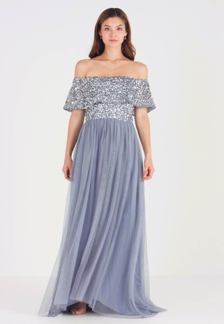 Maya Deluxe - OVERSIZED BARDOT HIGH LOW DRESS - Gallakjole - dusty blue