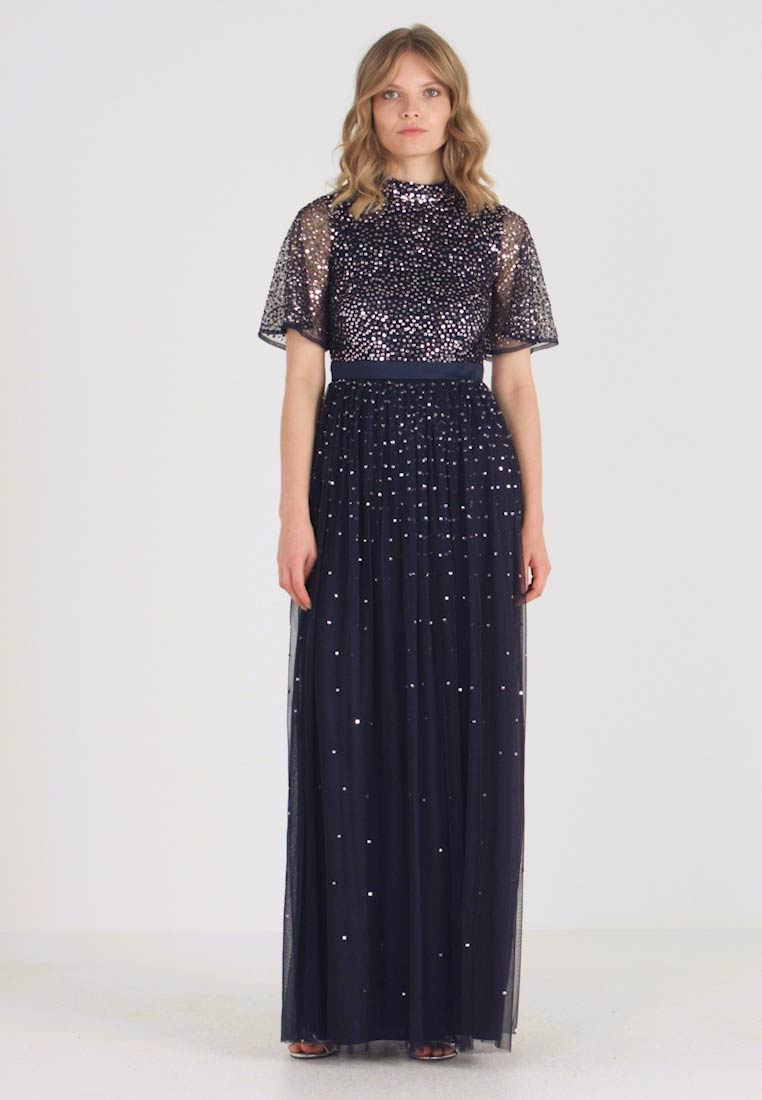 Maya Deluxe - HIGH NECK MAXI DRESS WITH OPEN BACK AND SCATTERED SEQUIN - Ballkjole - navy