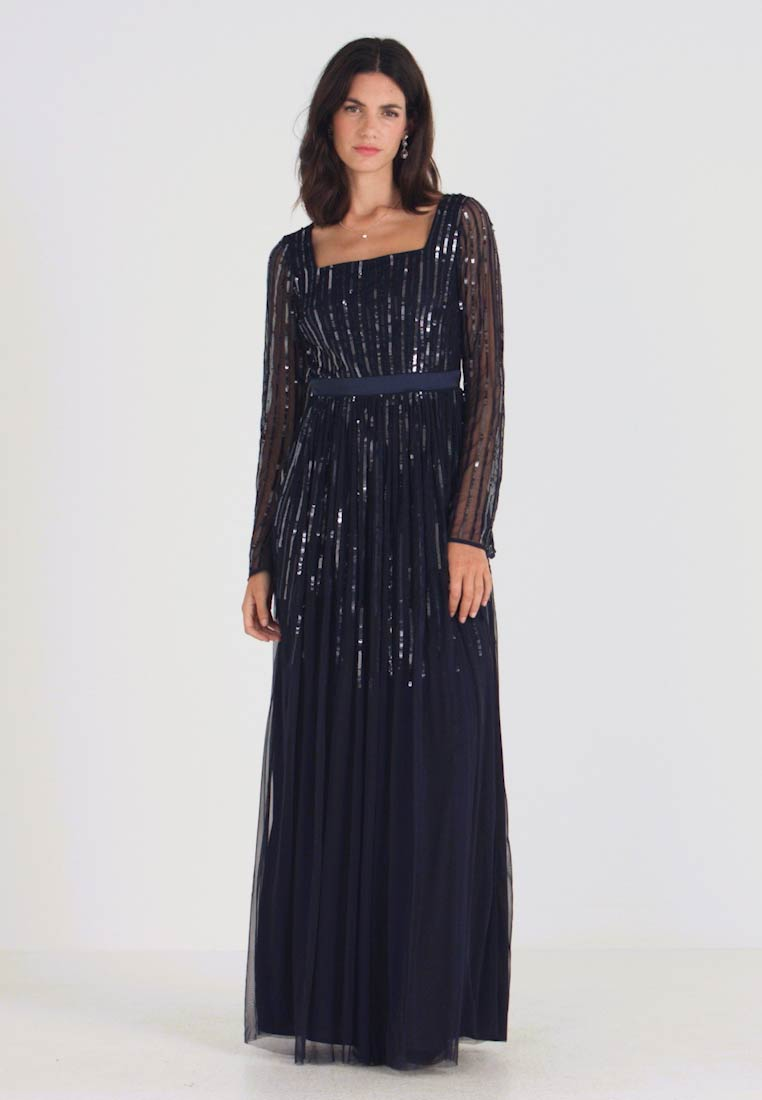 Maya Deluxe - SQUARE NECK STRIPE EMBELLISHED MAXI DRESS WITH FLUTED SLEEVES - Společenské šaty - navy