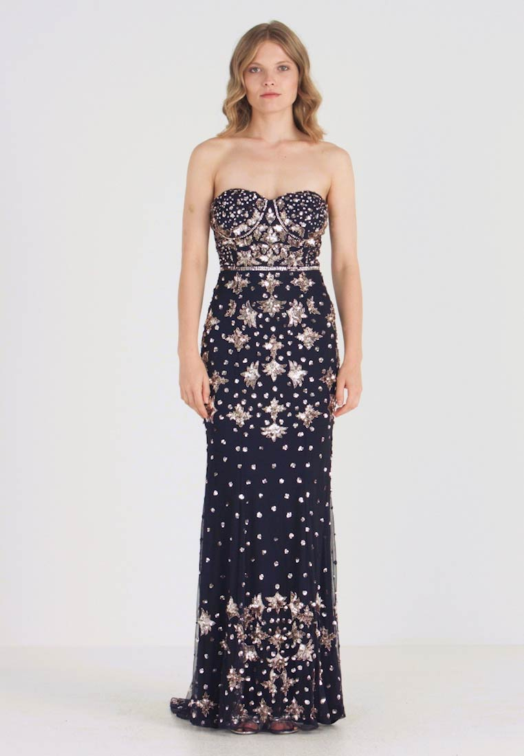 Maya Deluxe - BANDEAU HEAVILY EMBELLISHED DRESS WITH FISHTAIL TRAIN - Ballkleid - navy
