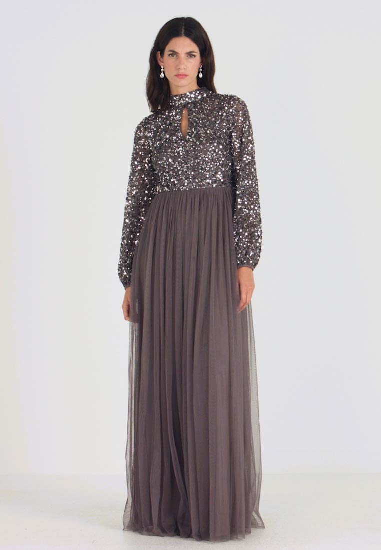 Maya Deluxe - BISHOP SLEEVE DELICATE SEQUIN MAXI DRESS WITH KEYHOLE - Ballkleid - charcoal