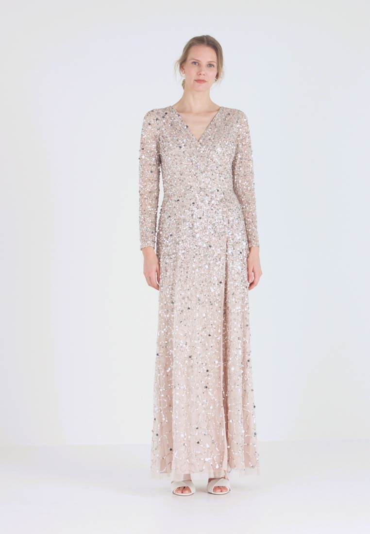 Maya Deluxe - ALL OVER HEAVILY EMBELLISHED WRAP LONG SLEEVE MAXI DRESS - Robe de cocktail - nude