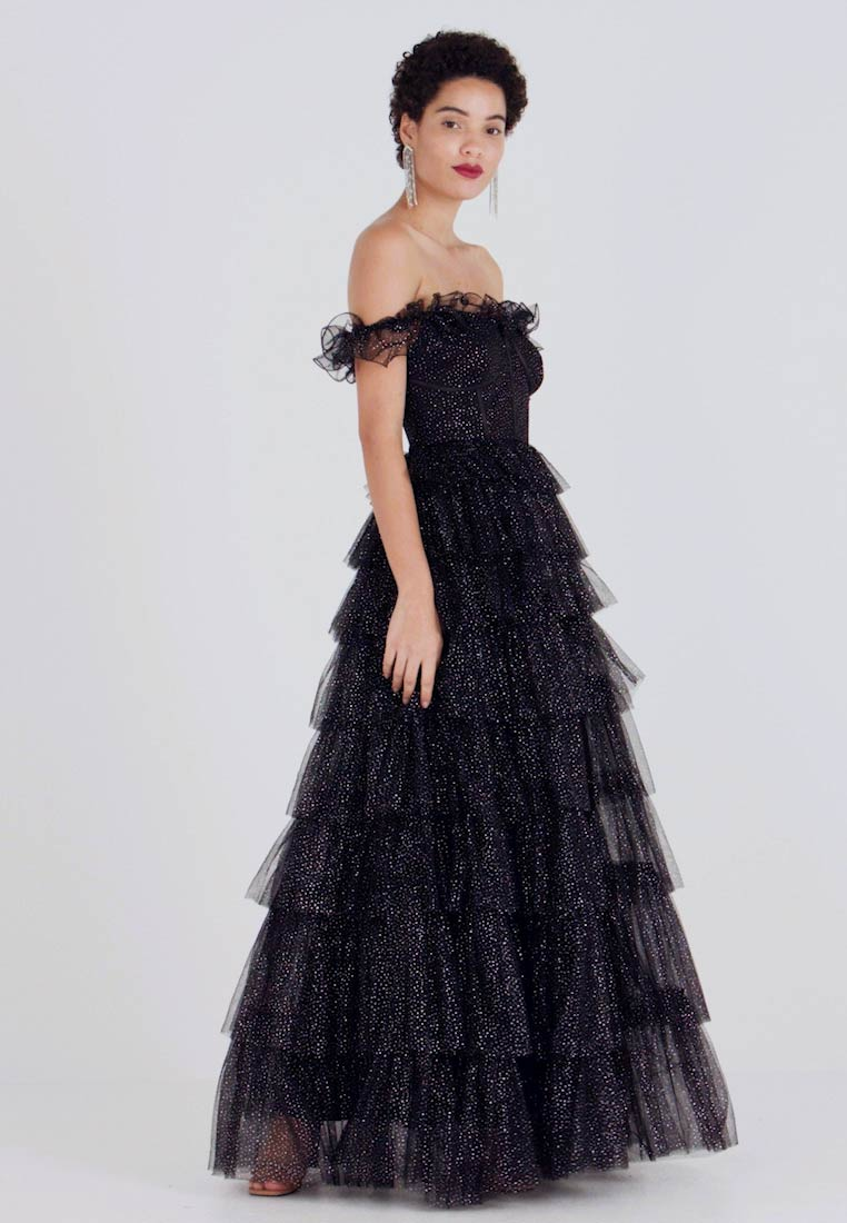 Maya Deluxe - GLITTER BARDOT MAXI DRESS WITH TIERED SKIRT - Occasion wear - black