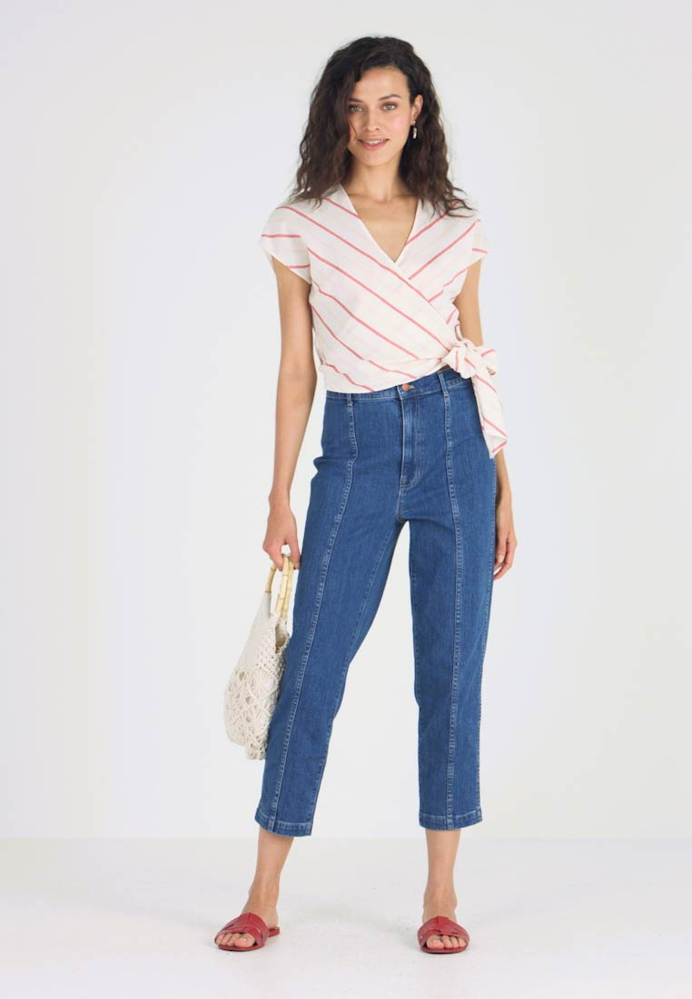 Madewell - DROP SHOULDER WRAP IN SNAKE STRIPE - Bluse - ripe persimmon