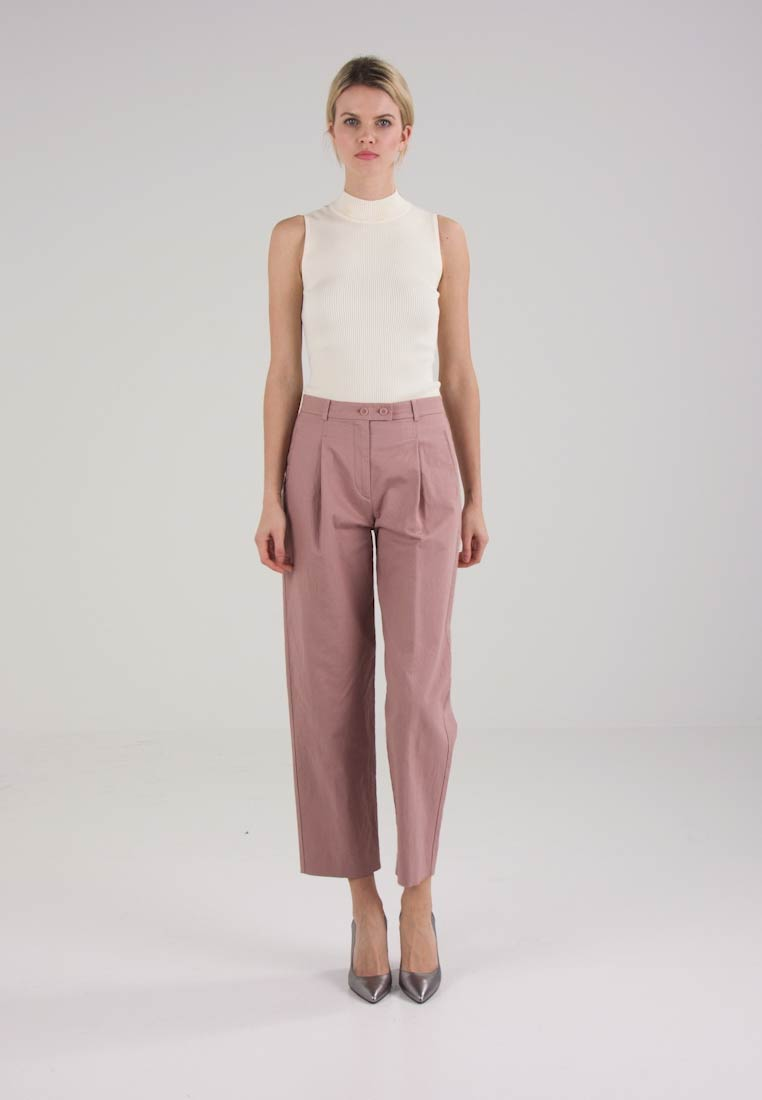 Marc OPolo PANTS, HIGH WAIST PLEAT IN FRONT - Bukser - rosewood