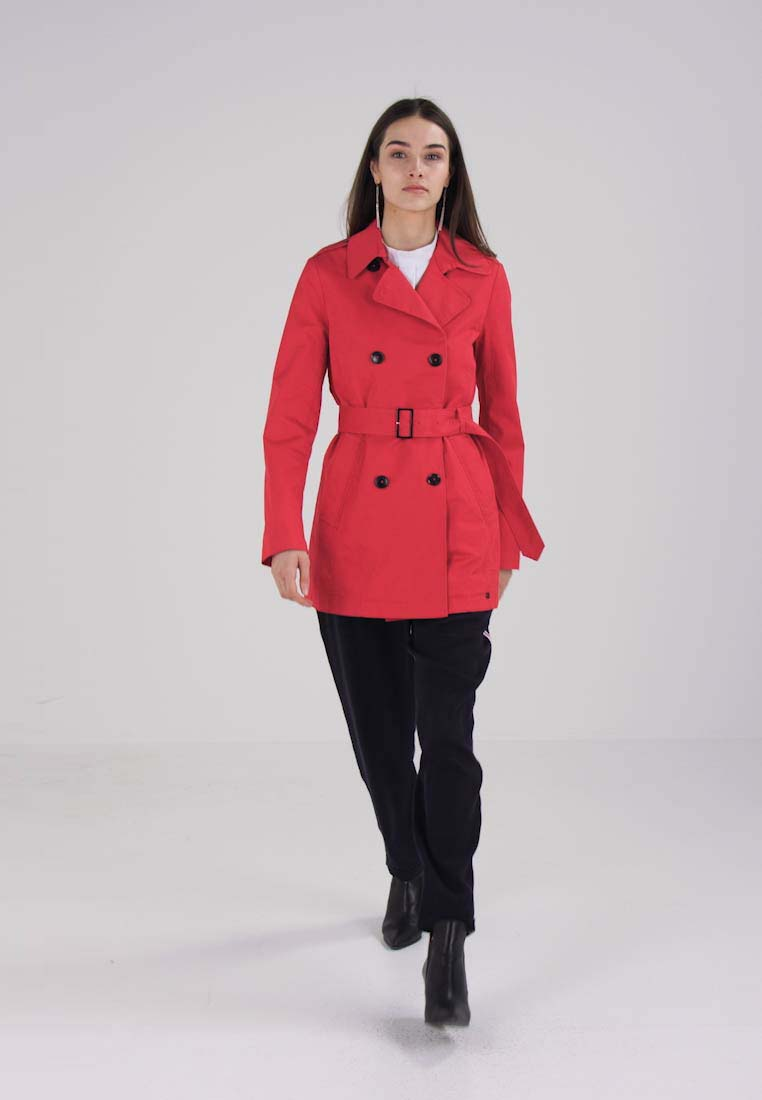 Marc OPolo SHORT FITTED BELTED - Trenchcoat - crimson red