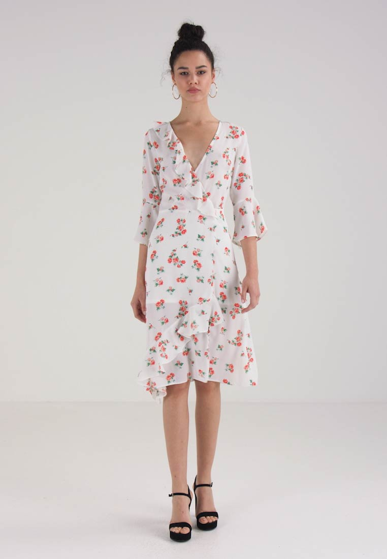 Miss Selfridge MIXED PRINT DRESS - Fotsid kjole - white/red