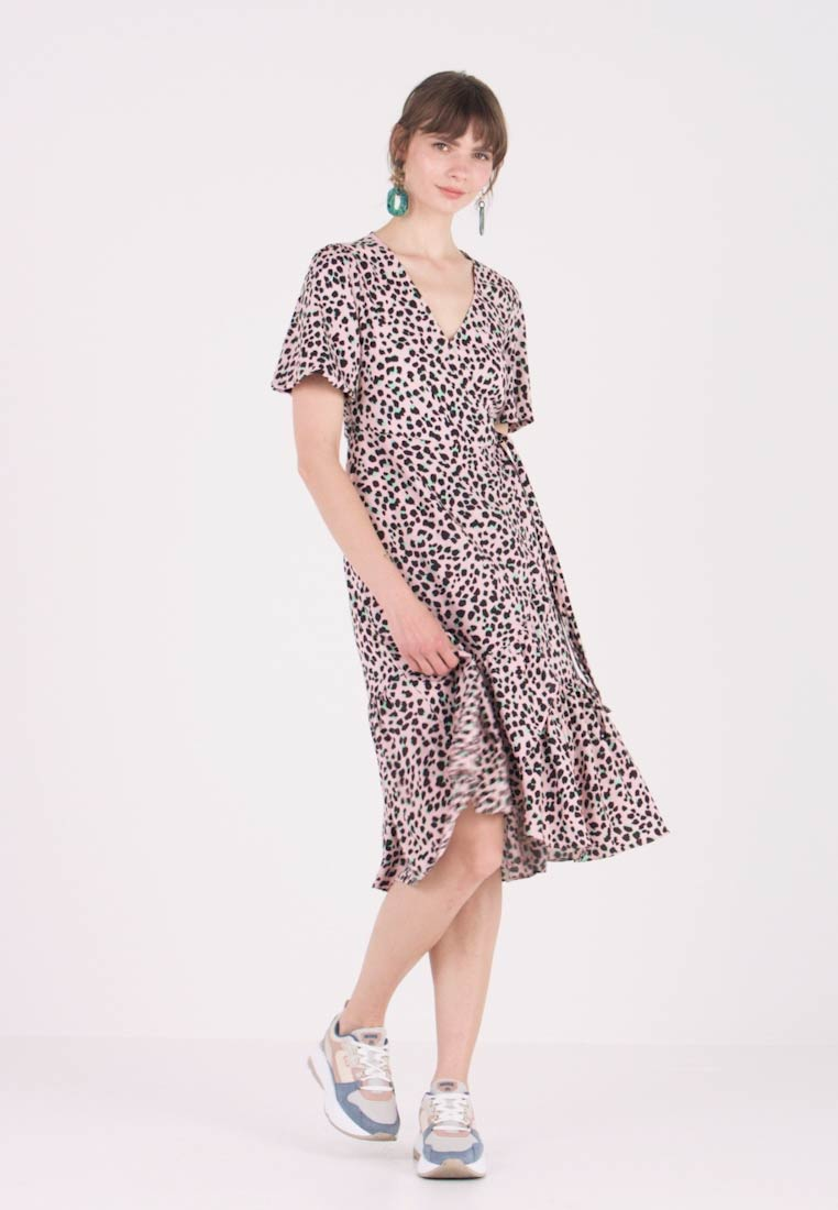 Miss Selfridge - ANIMAL FRILL WRAP MIDI DRESS - Day dress - pink