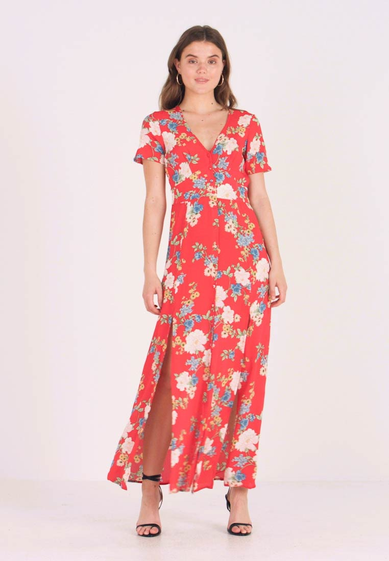 Miss Selfridge - FLORAL BUTTON THROUGH MAXI DRESS - Maxikleid - red