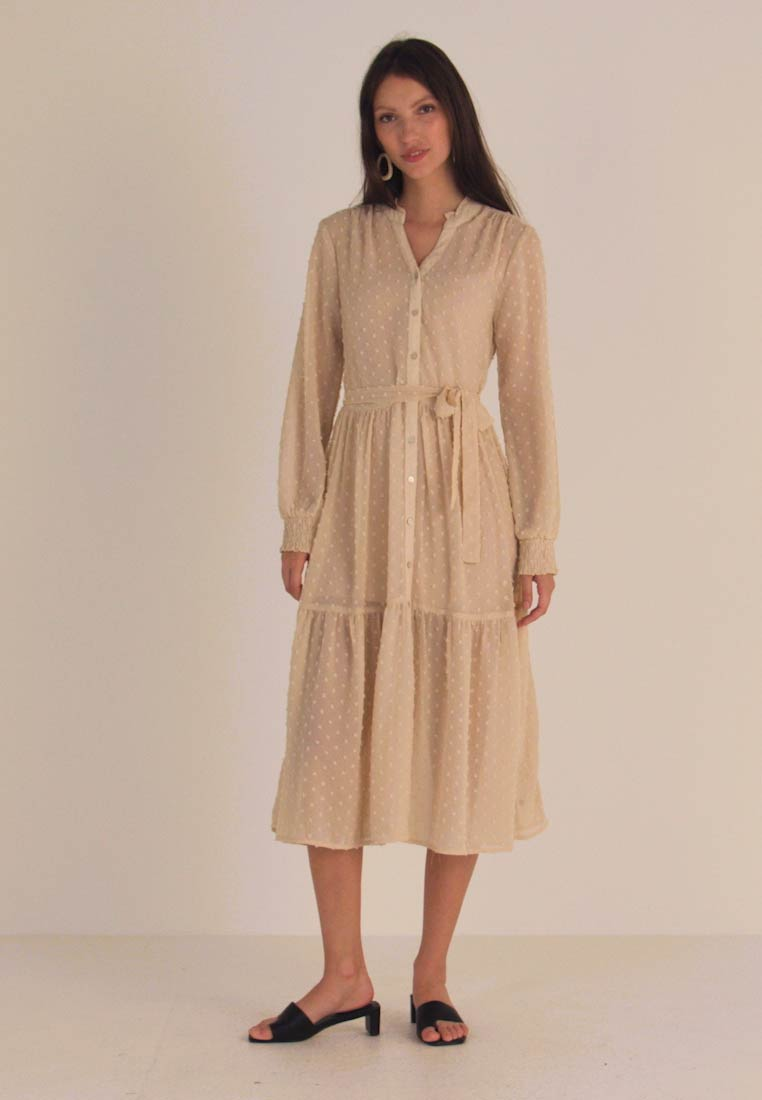 Miss Selfridge - TIERED DOBBY DRESS - Shirt dress - nude