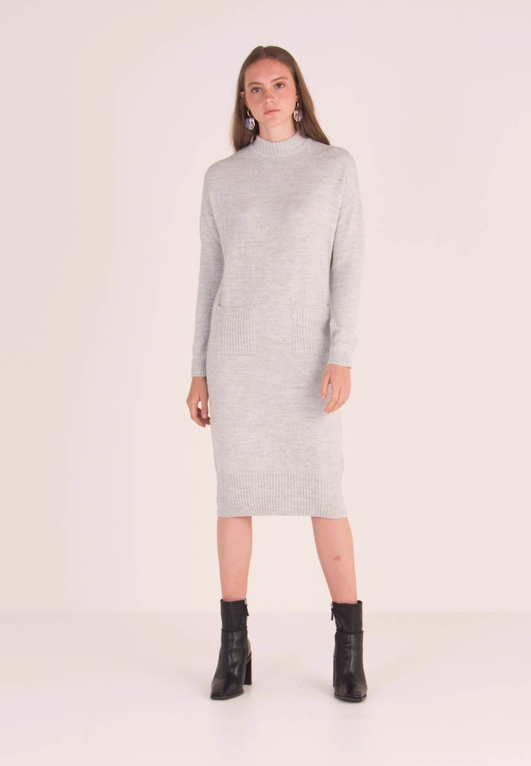 Miss Selfridge - POCKET MIDI DRESS - Jumper dress - grey marl
