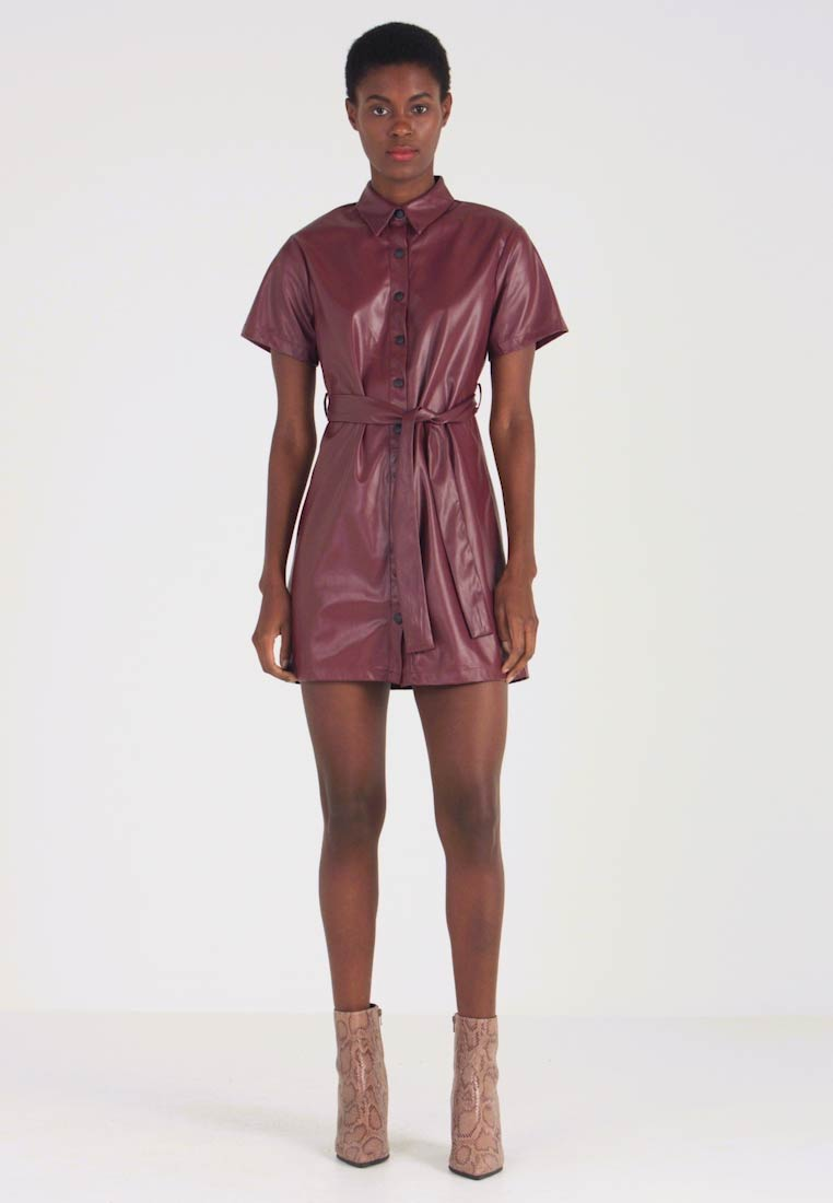 Missguided Tall - TIE BELT DRESS - Abito a camicia - burgundy