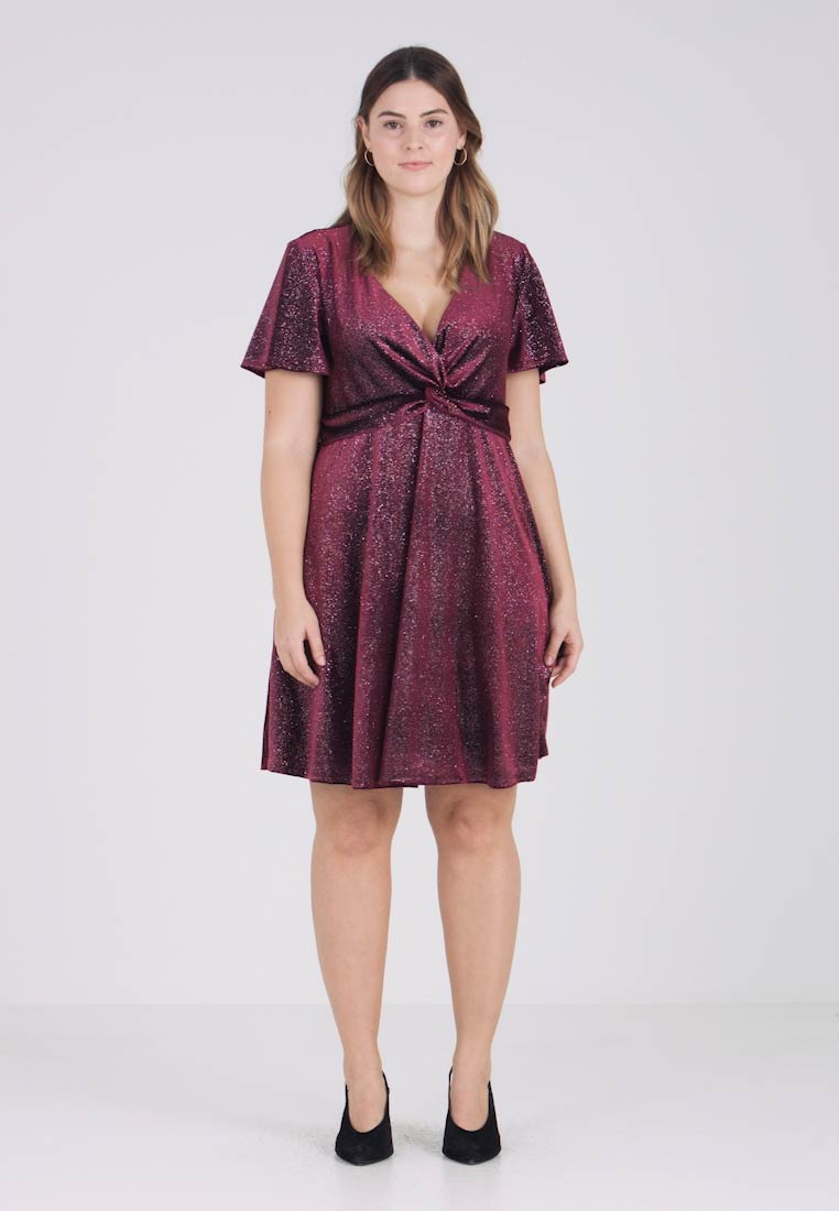 New Look Curves - TWIST DRESS - Vestido de cóctel - burgundy
