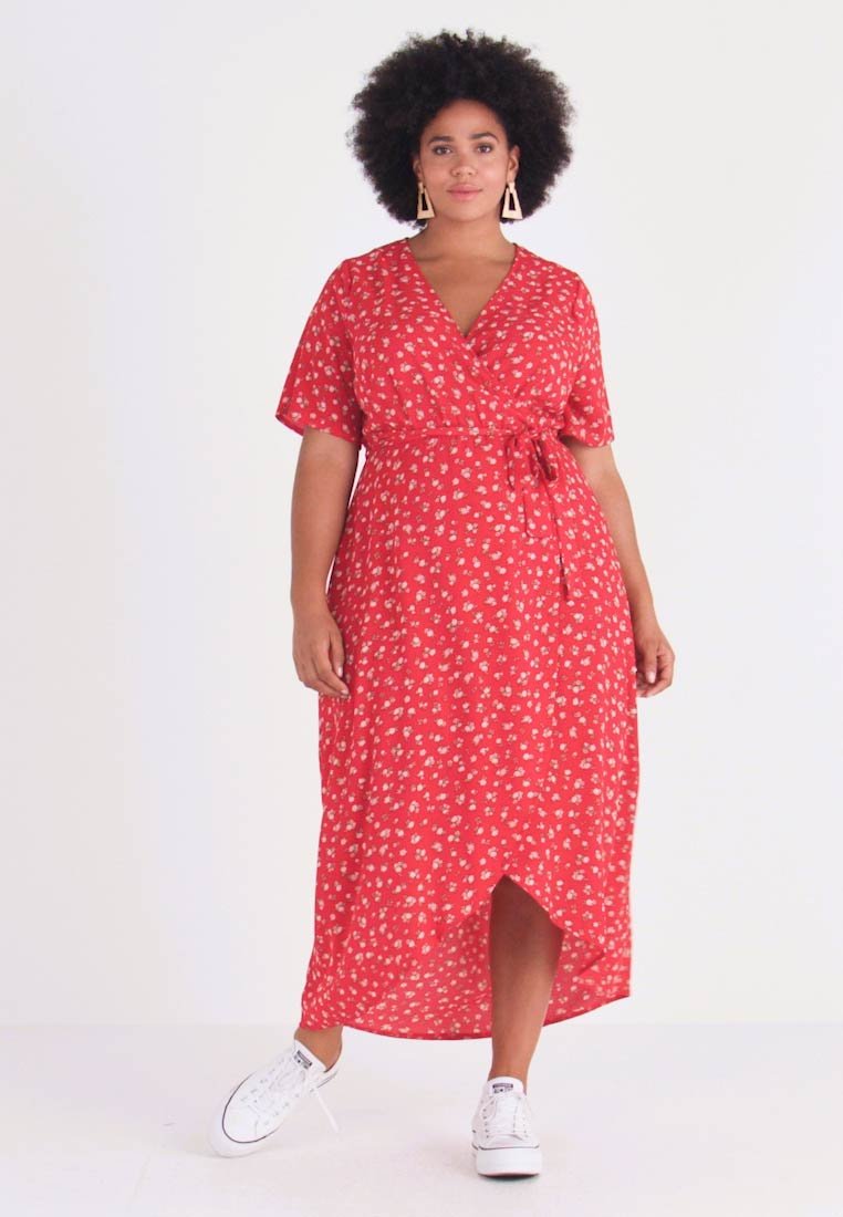 New Look Curves - NELLE FLORAL HIGH LOW - Vestito lungo - red