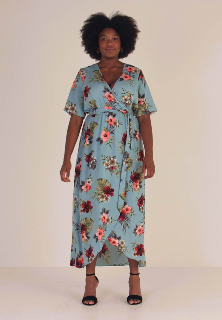 New Look Curves - MALIBU HI LOW DRESS - Maxiklänning - blue pattern