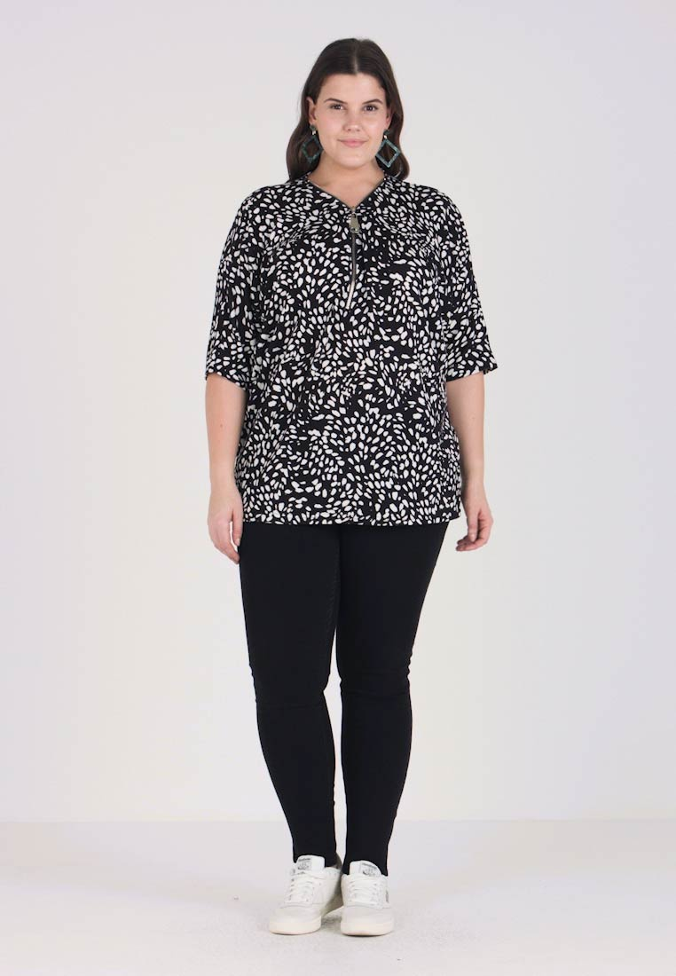 New Look Curves - SPOT ZIP FRONT - T-shirt con stampa - black