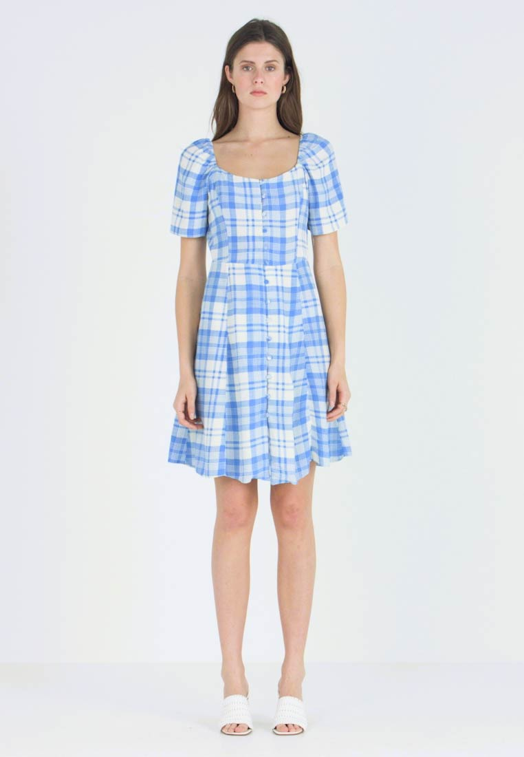 New Look Tall - JULES CHECK NECK TEA DRESS - Blusenkleid - blue