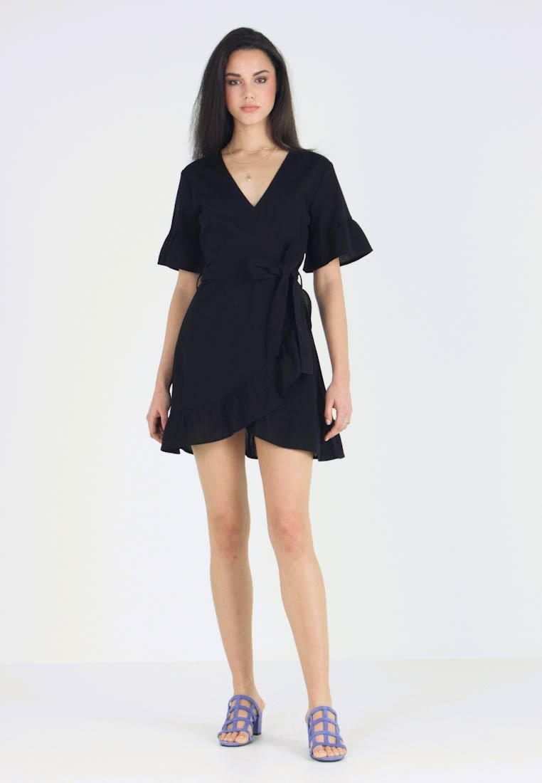 Nly by Nelly - MINI FRILL DRESS - Day dress - black