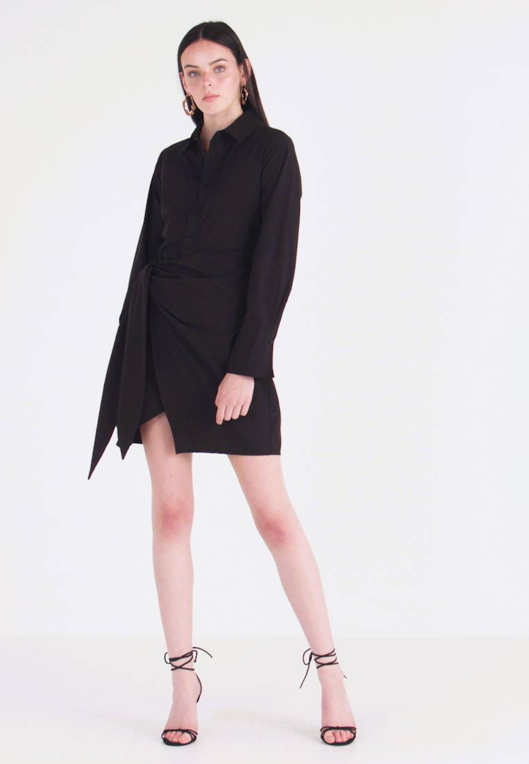 Nly by Nelly - WRAPPED DRESS - Shirt dress - black
