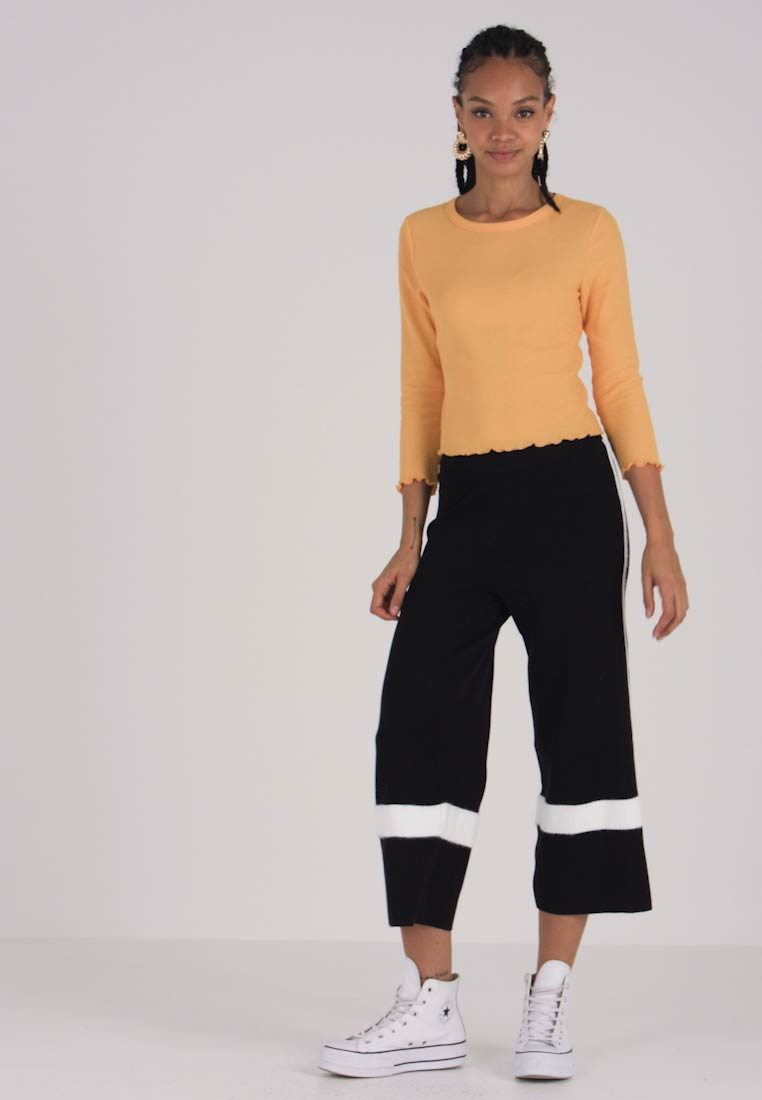 Look Piped Culotte Trousers Hair Black Plain New 7xqwpPq