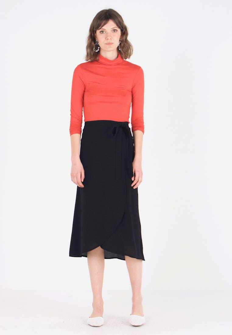 New Look - PLAIN WRAP MIDI SKIRT - Tubenederdele - dark yellow