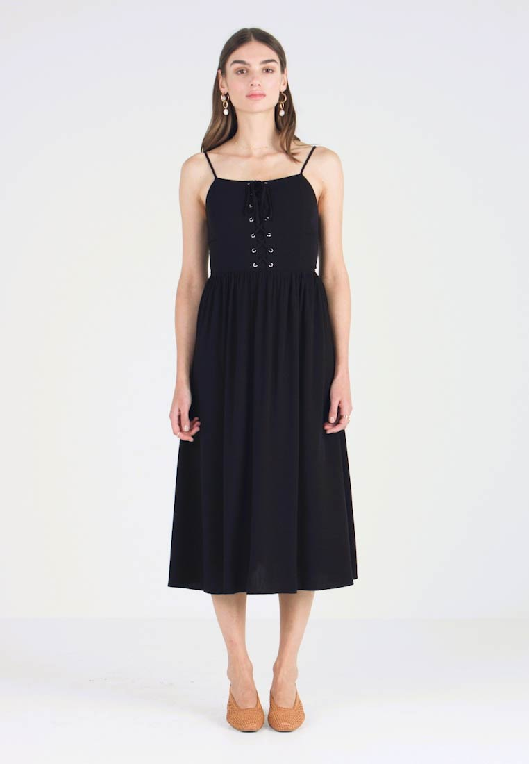 New Look - EYELET LATTICE MIDI DRESS - Vestido informal - black