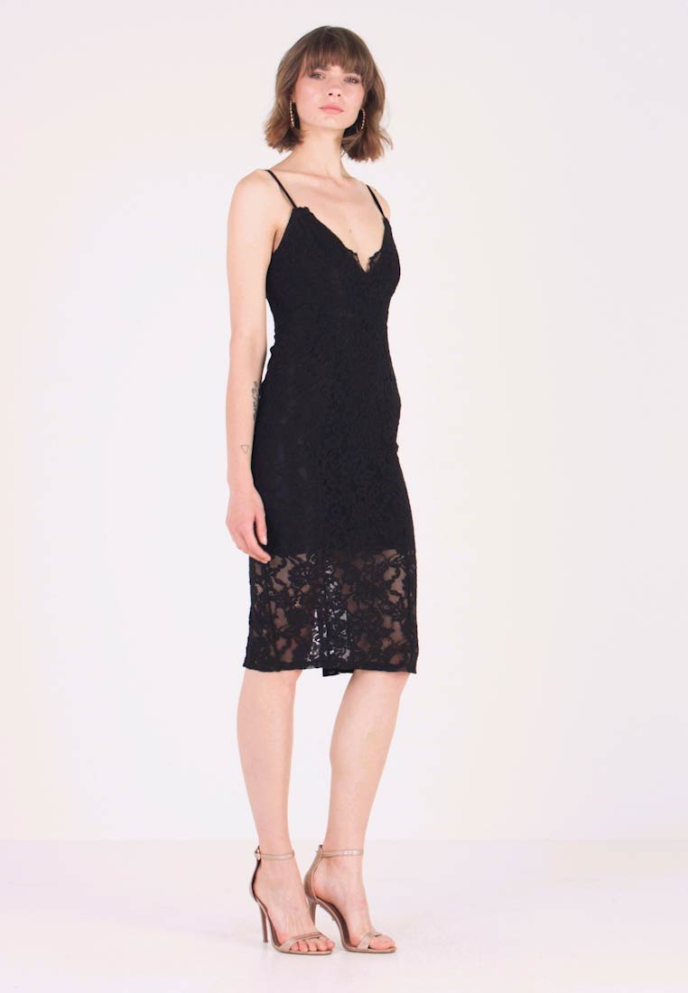 New Look - SCALLOP HEM MIDI DRESS - Tubino - black