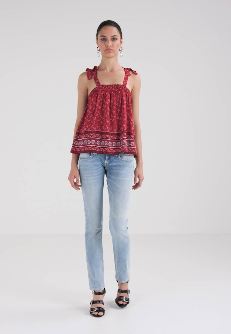 New Look - MIA BORDER TUFTY STRAP CAMI - Bluse - red pattern